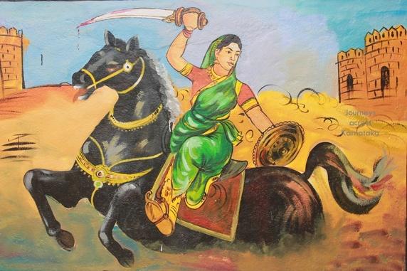 A painting on the building of Karnataka Government's Kannada School at Shambulinga Gudi