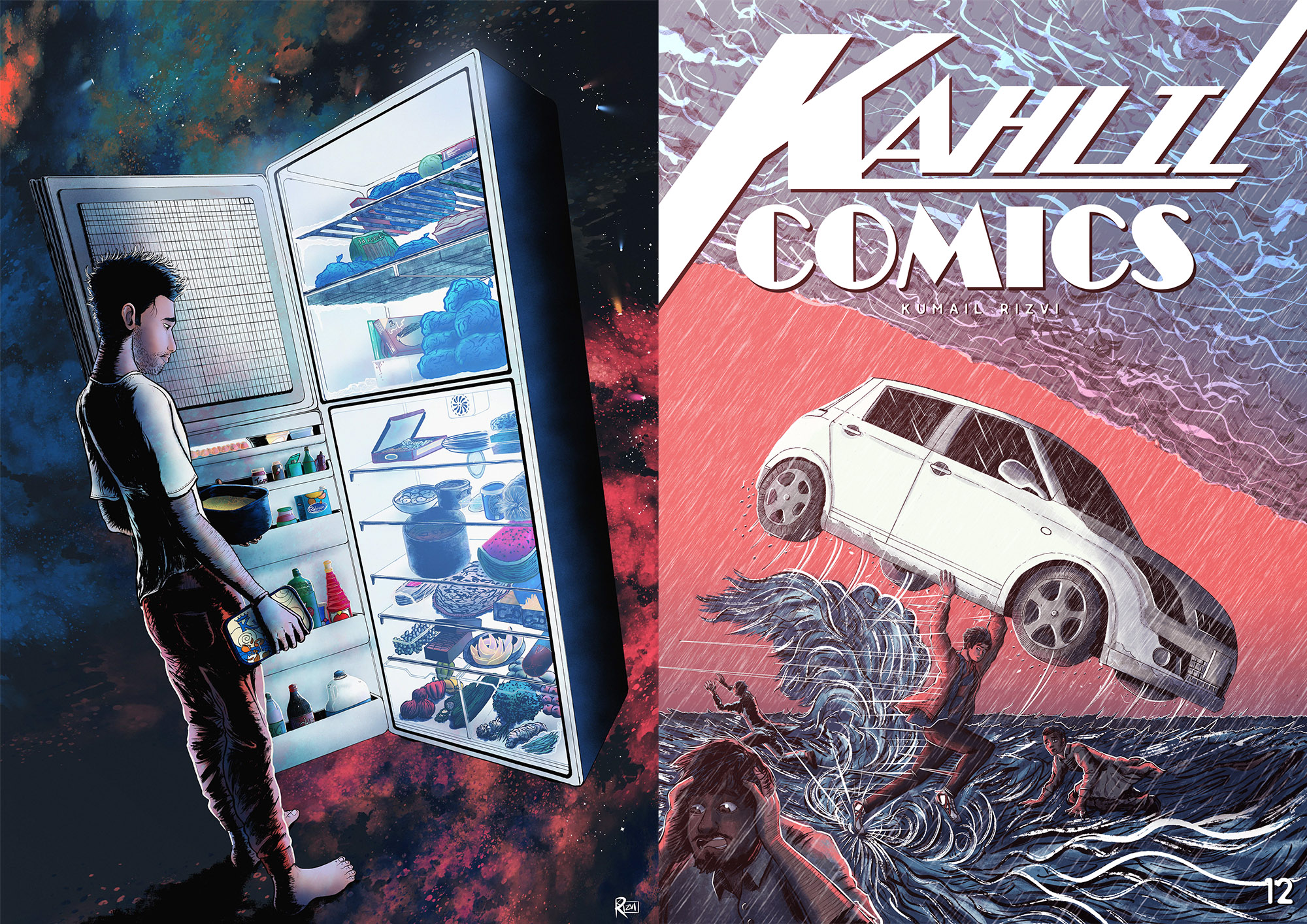 Left, Kumail's piece for BOBBA Exhibition  Right, the cover of Kumail's comic book Kalil