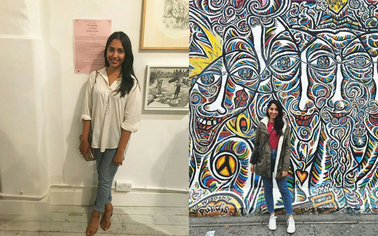 Left, Nikita standing by her essay that inspired the exhibition.  Right, Nikita in Berlin
