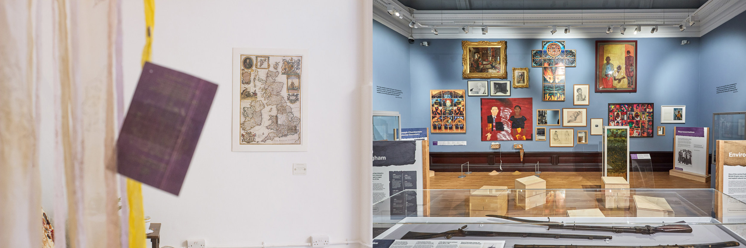 Left, Shaheen's pieces at BOBBA Exhibition.Photo credit: Joe Fetta  Right, The Past Is Now exhibition at Birmingham Museum Art Gallery