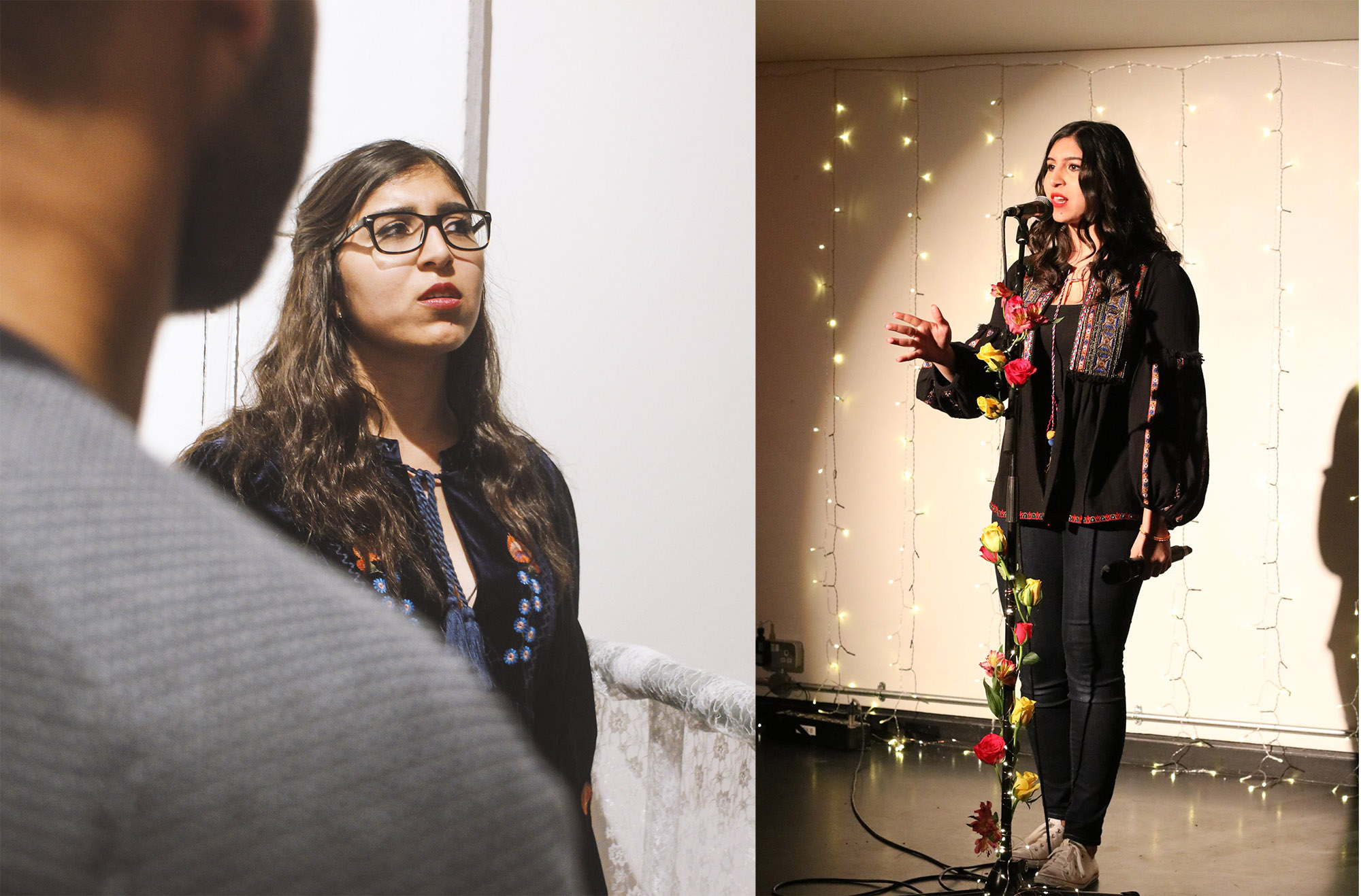 Left, Amani performing spoken word at the BOBBA Exhibition launch party. Photo credit: Joe Fetta  Right, Amani at Golden Tongue with the Yoniverse. Photo credit:Christy Ku