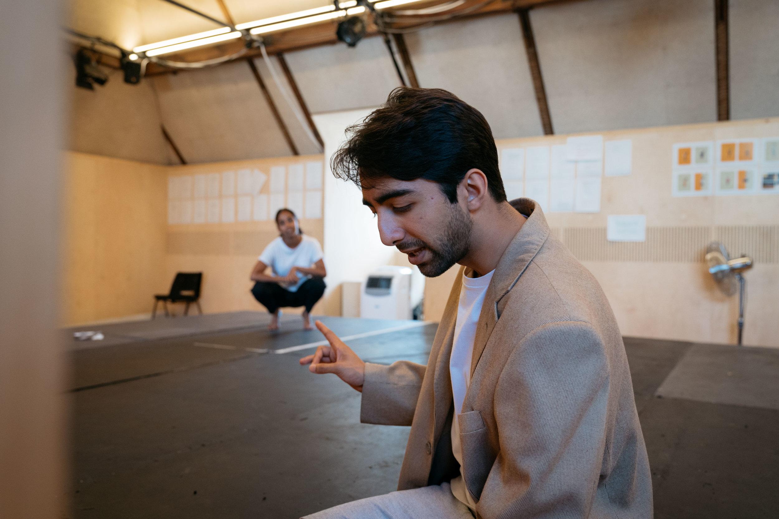 Anjana Vasan and Shubham Saraf in rehearsal for 'An Adventure', photo by Helen Murray.