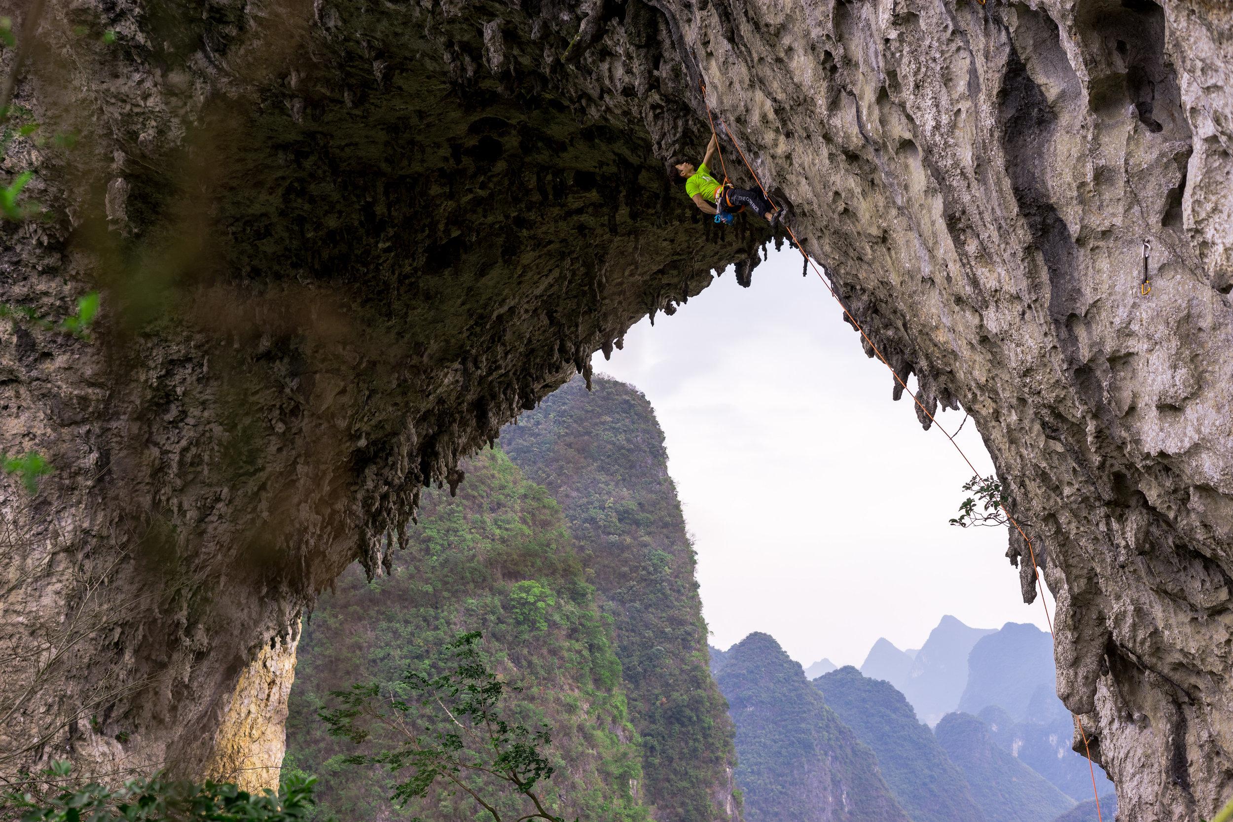 Korean climber at Moon Hill Yangshuo, China
