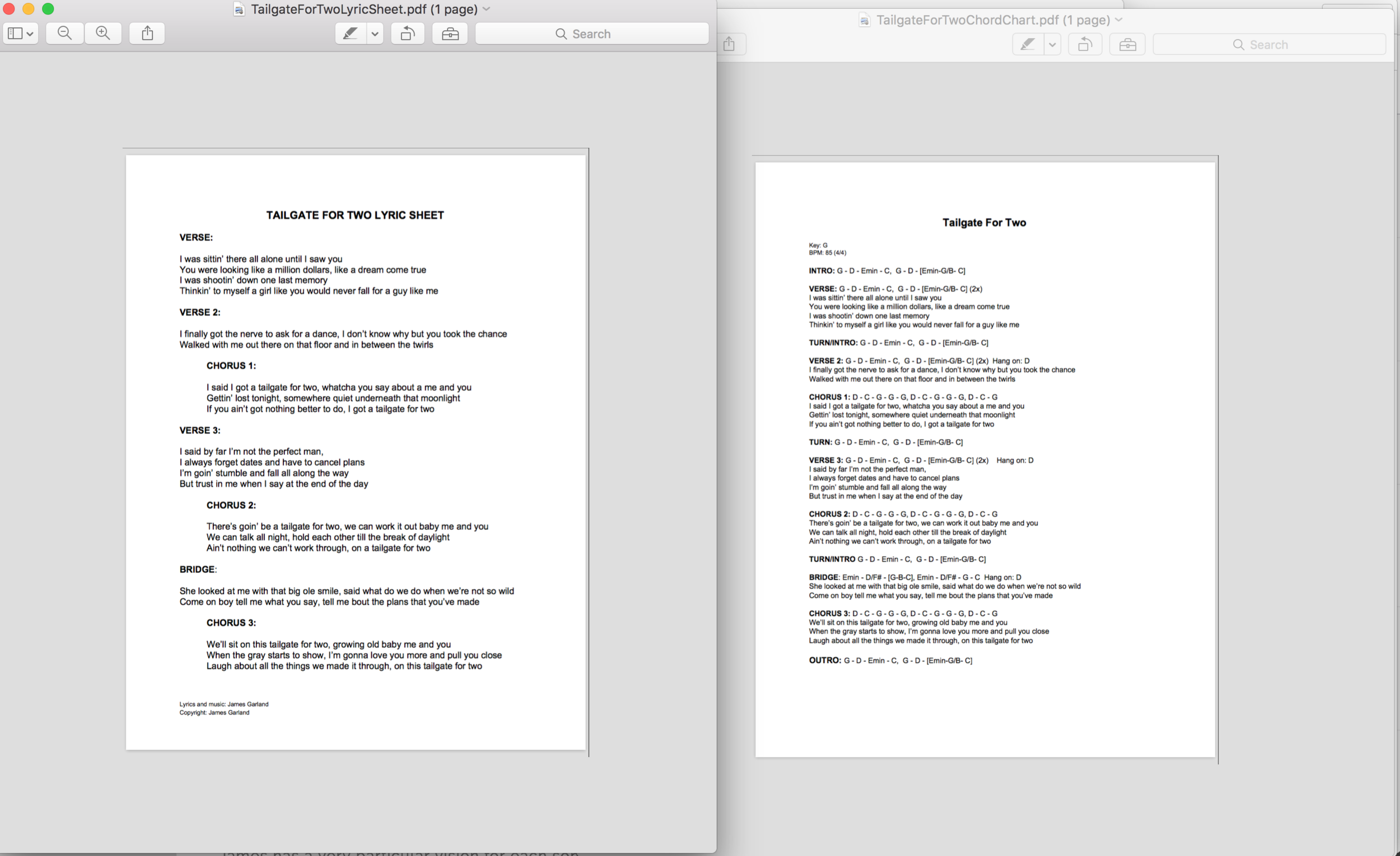 "Chord Chart and Lyric Sheet for a new song called  ""Tailgate for Two"""