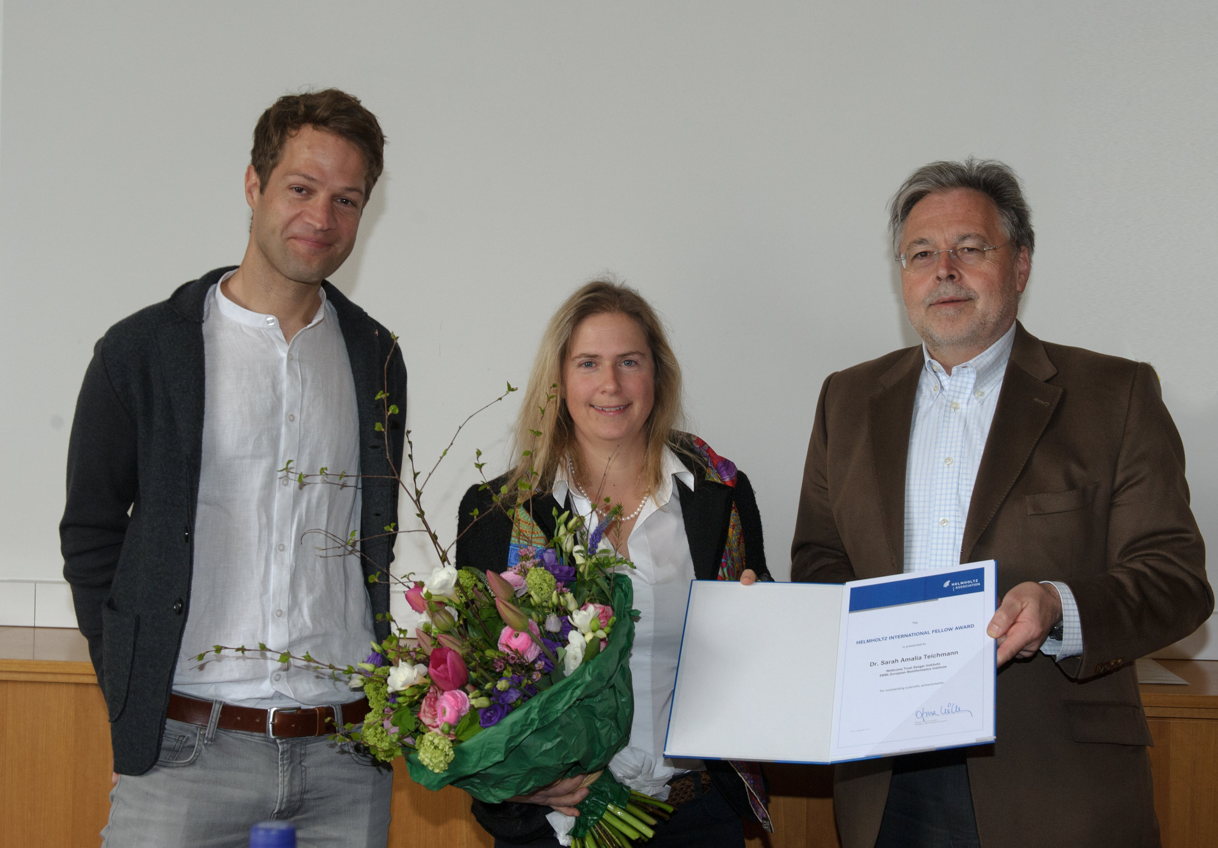 Receiving the award at the ceremony with fabian theis (left) and gunter wess (right)