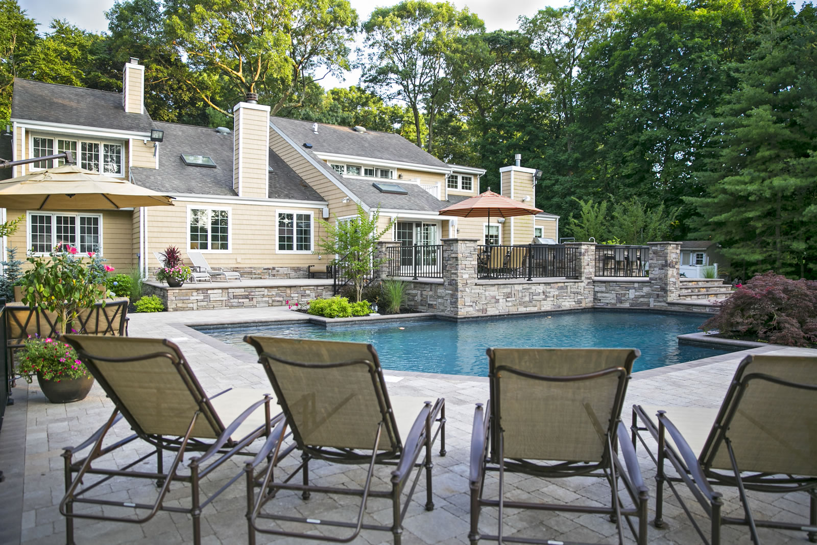 Landscape Architecture with Gunite Pools in Brookhaven, NY