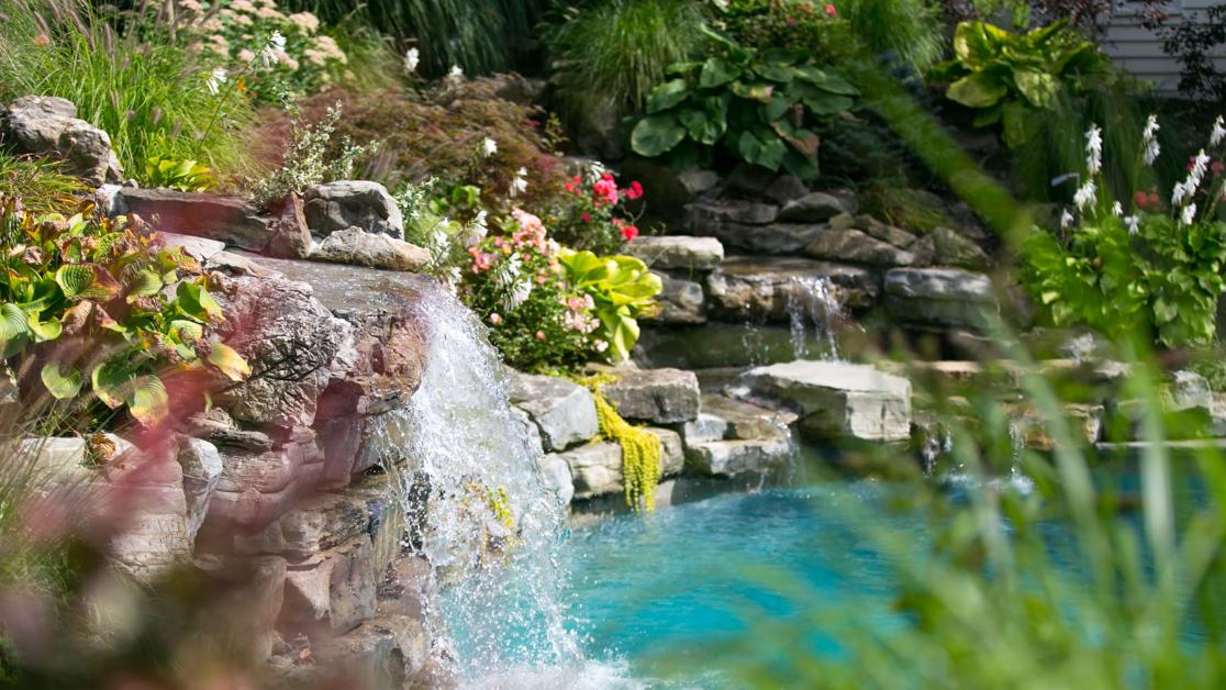 waterfall and pond hamptons, long island, ny