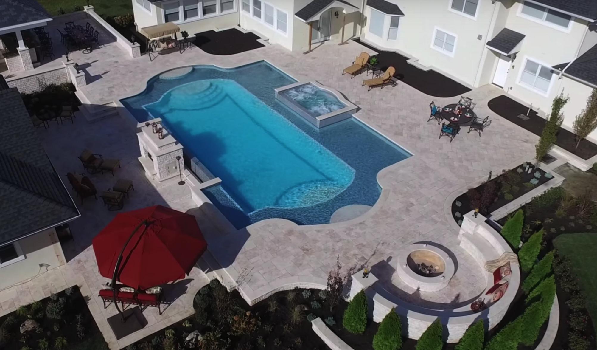 Inground Gunite Swimming Pool Design and Installation. Huntington, NY, Long Island, NY custom pool builder.