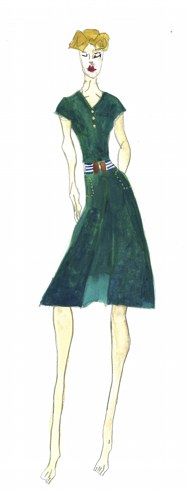 Meg Campbell Fashion Sketch with dark green golf skirt