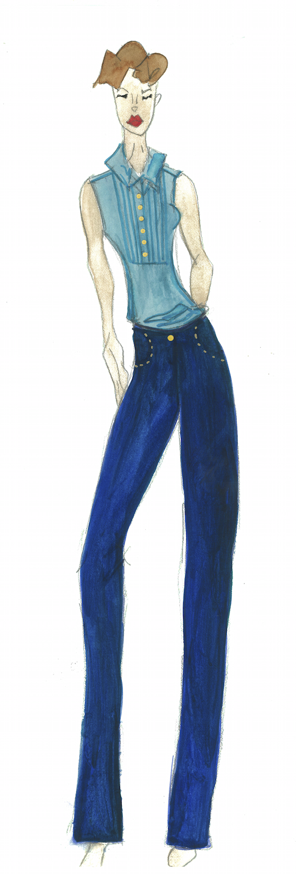 Meg Campbell Fashion Sketch with light blue vest and dark blue golf pants