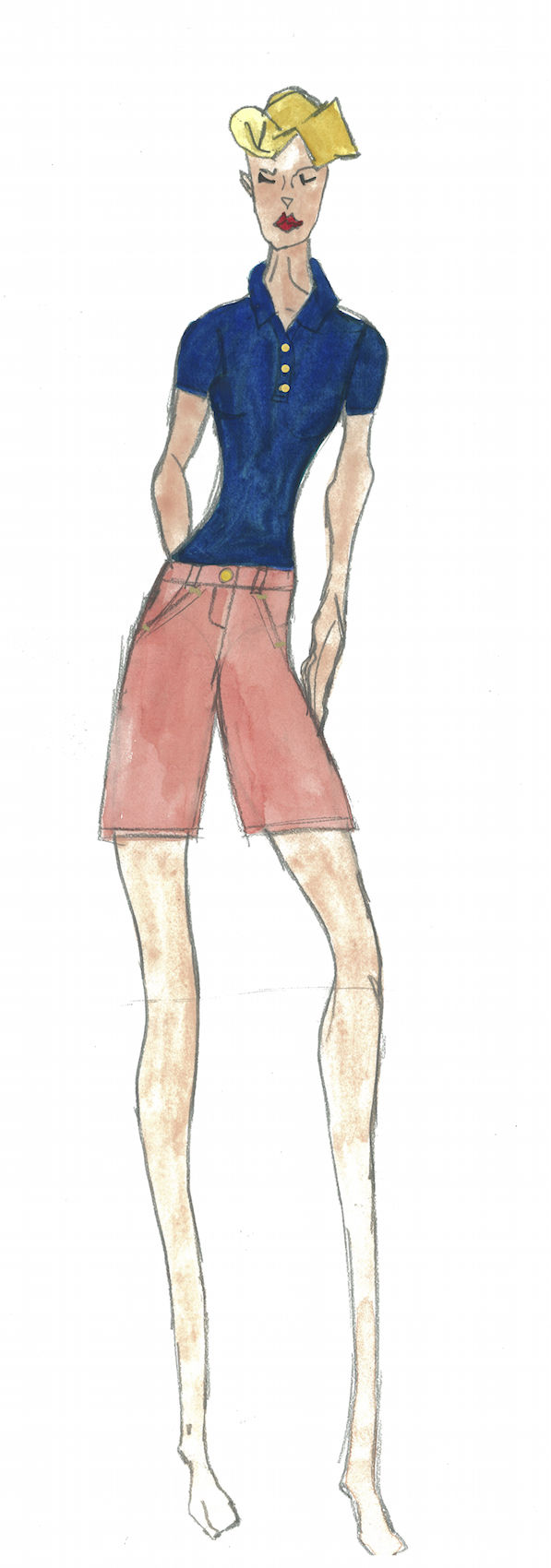 Meg Campbell Fashion Sketch with blue shirt and salmon colored pants