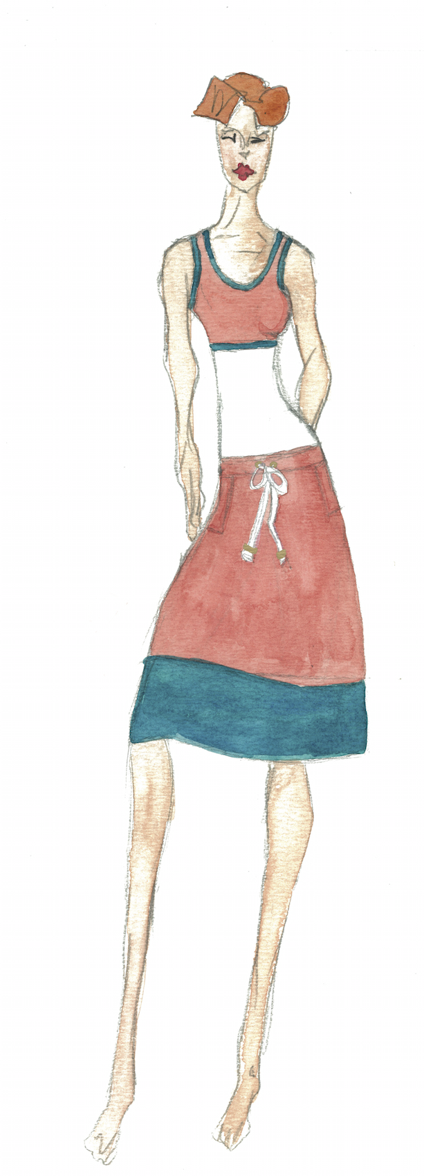 Meg Campbell Fashion Sketch with patterned golf skirt