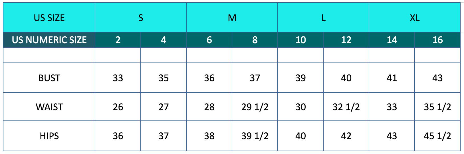 Meg Campbell golf sizing chart