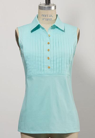 women's sleeveless golf top light blue
