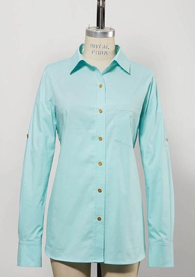 light blue women's longsleeved golf shirt
