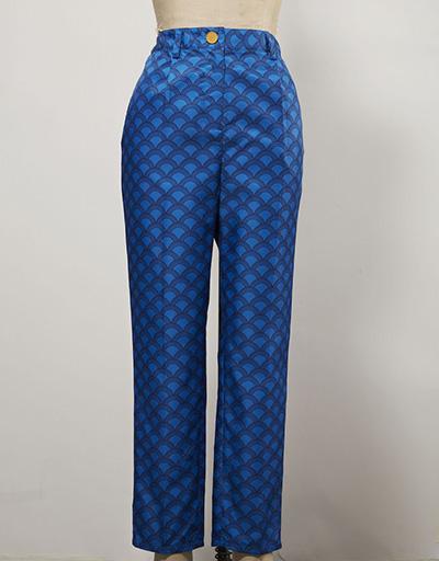 plaid blue patterned women's golf pants