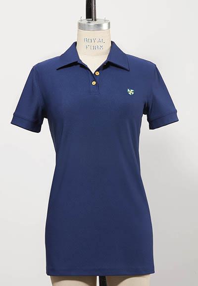 dark blue short-sleeved women's golf shirt