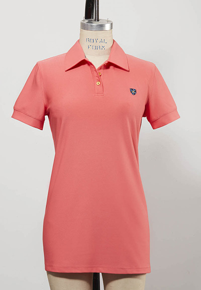 salmon colored women's golf shirt short-sleeved