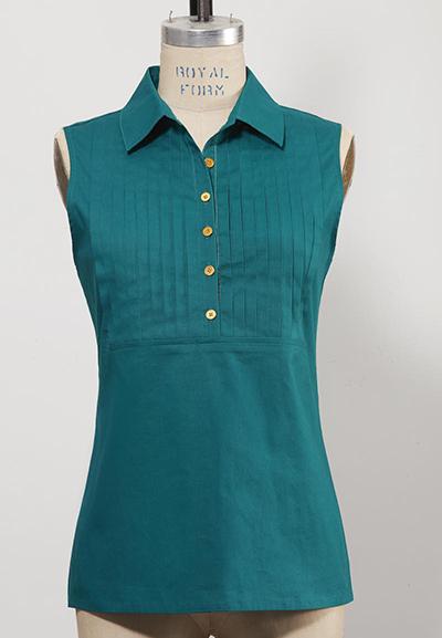 sleeveless dark green women's golf top