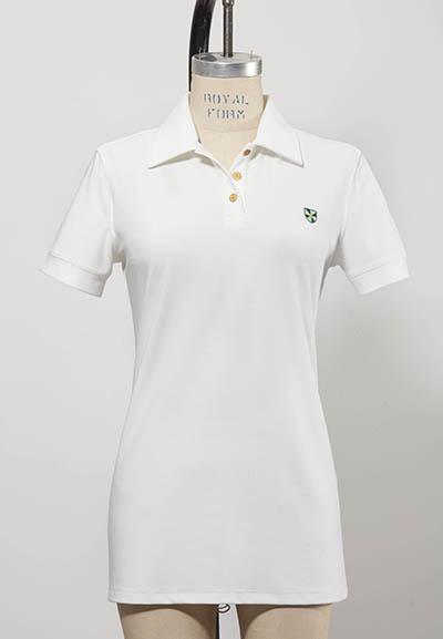 short-sleeved white women's golf shirt