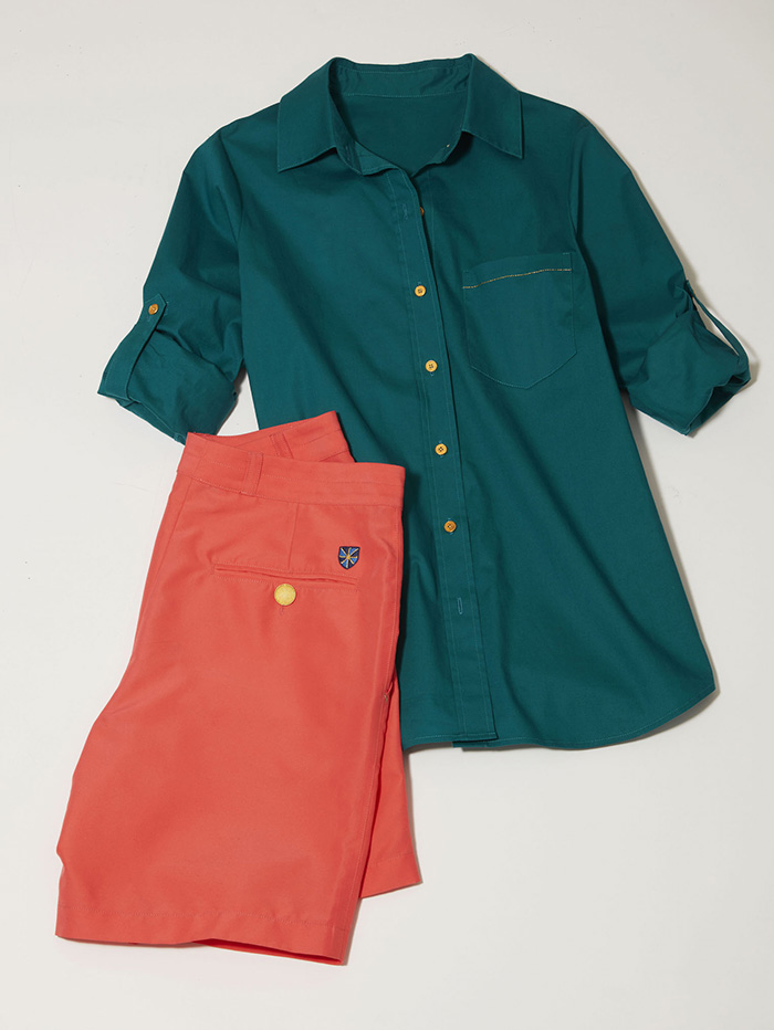 dark green longsleeved shirt with matching salmon colored golf pants