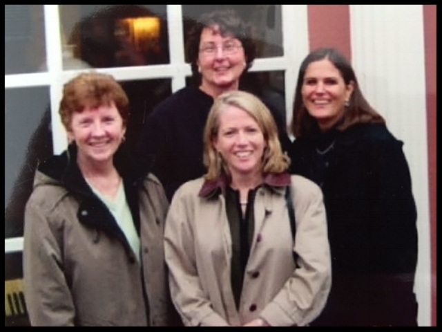 Peggy Reddy Daly (left), Kate Murphy (bottom center), Terri Patterson (back center), Jody Masterson (right) attending the Royal College of Nursing Rehabilitation Conference in Dublin Ireland, 2003.