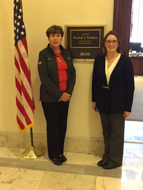 Karyn Kling and Elaine Flynn, MossRehab outside Sen Toomey office.