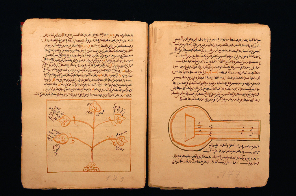 xavier rossi@gammamal 00042003 tombouctoule chemin de l'encreBibliothèque de l'institut national de Tombouctou.Manuscrit de musique du XVIe siècle.