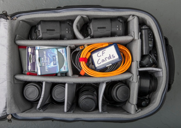 A look inside a TRG Reality photo bag.