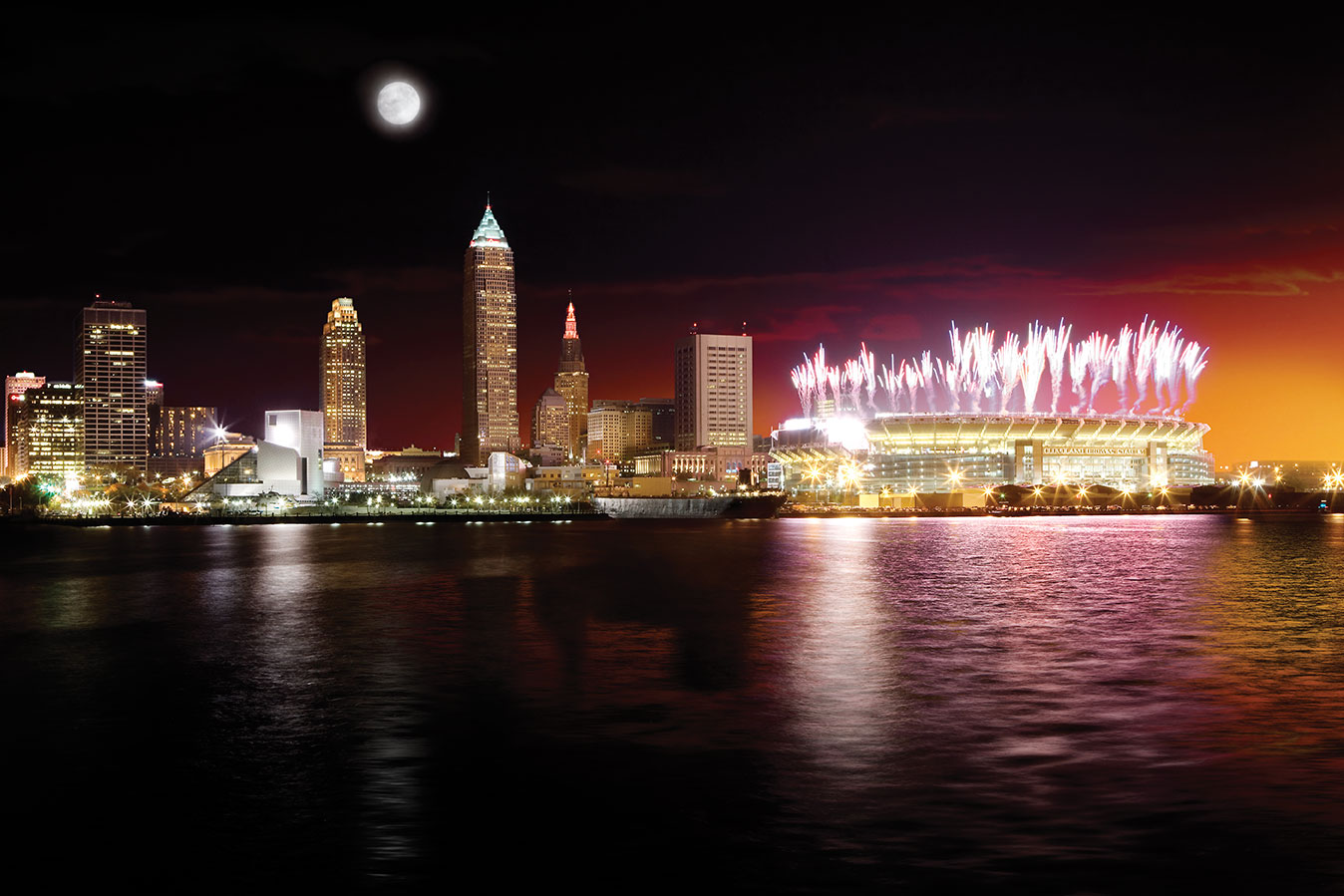 TRG image of downtown Cleveland at night with fireworks.