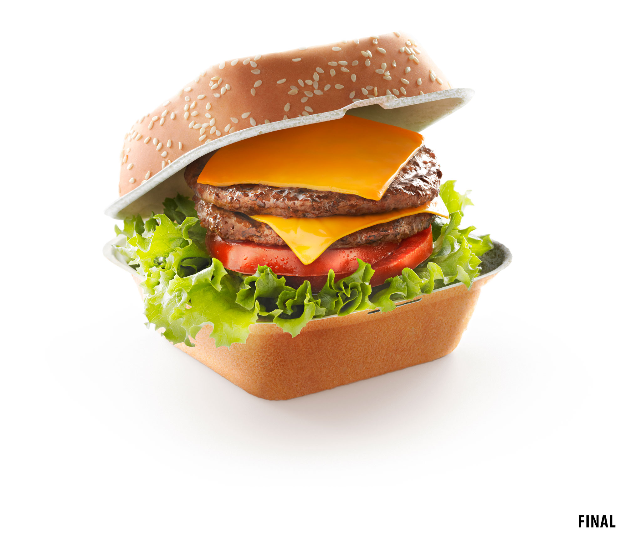 composite image of cheeseburger in a bun box