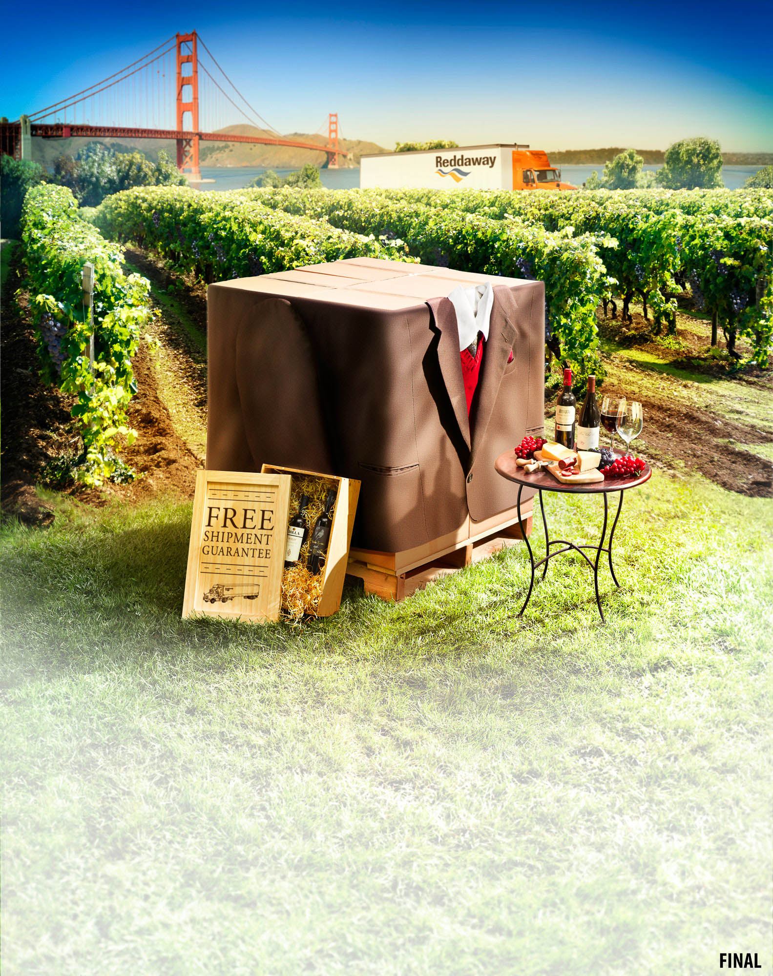 professional composite image of box with suit and picnic in vineyard