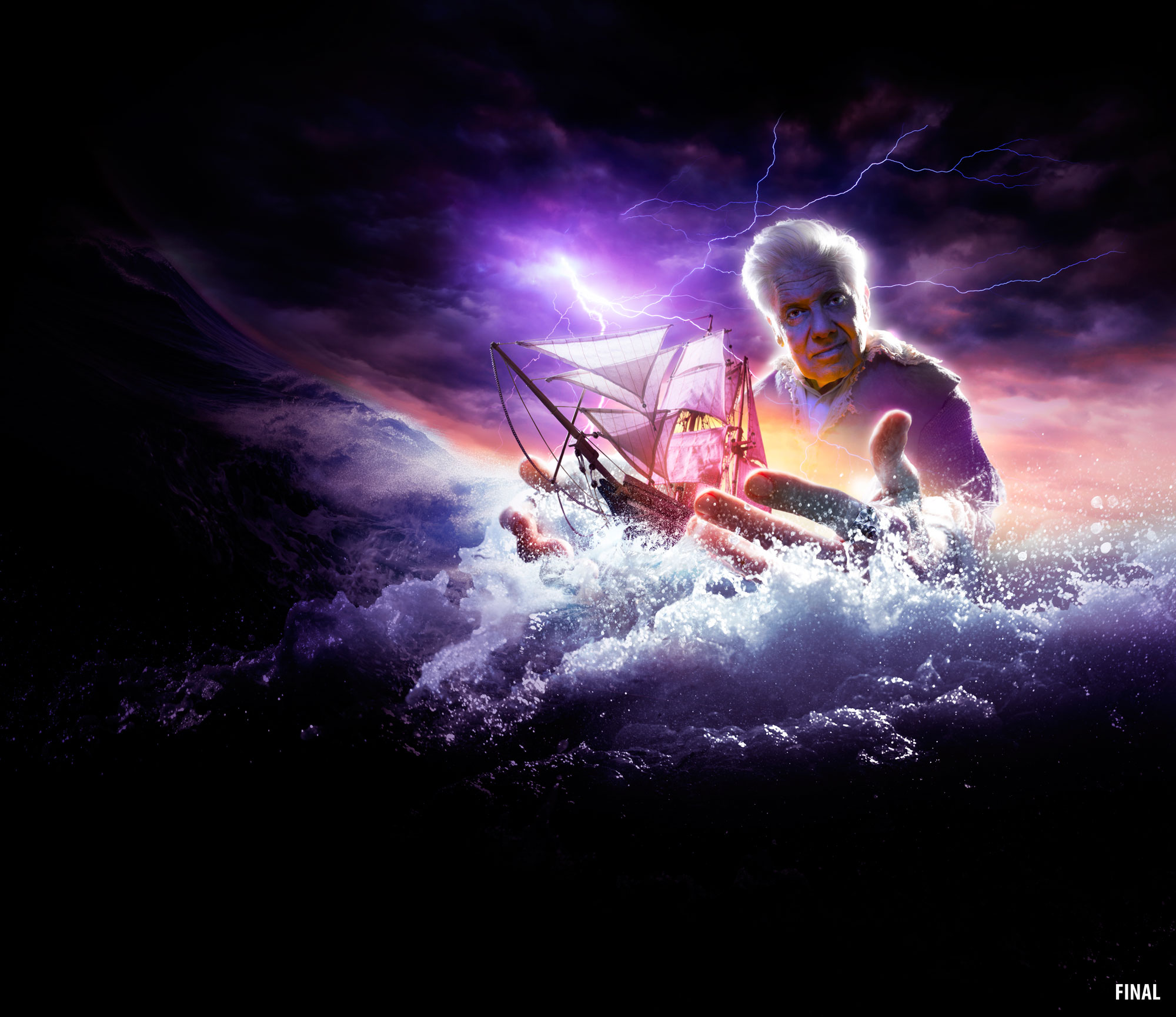 composite imagery photo of man overlooking sea holding boat in storm