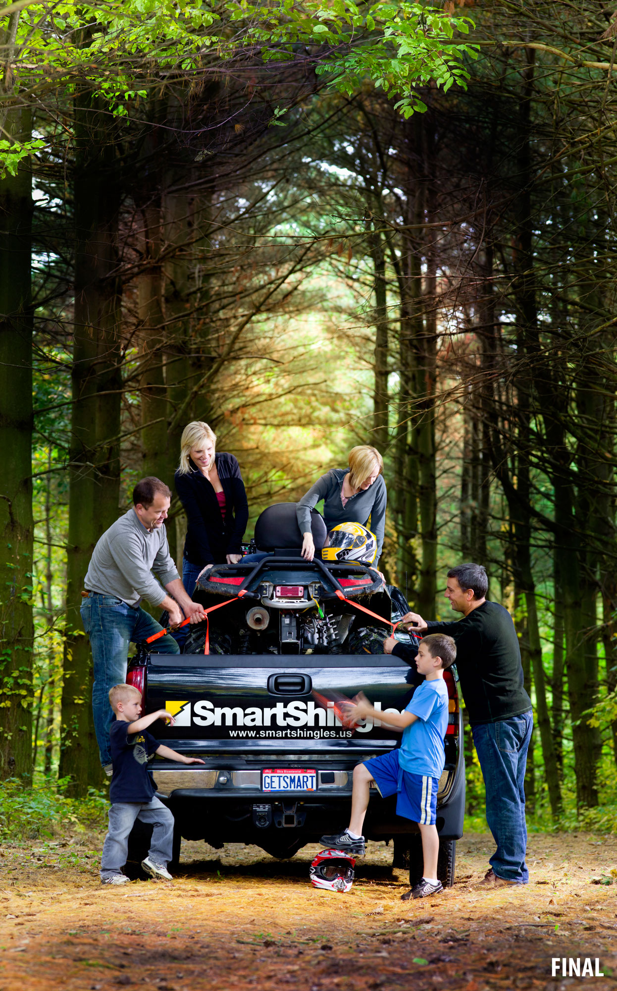 professional composite imagery photo of family with truck and 4 wheeler
