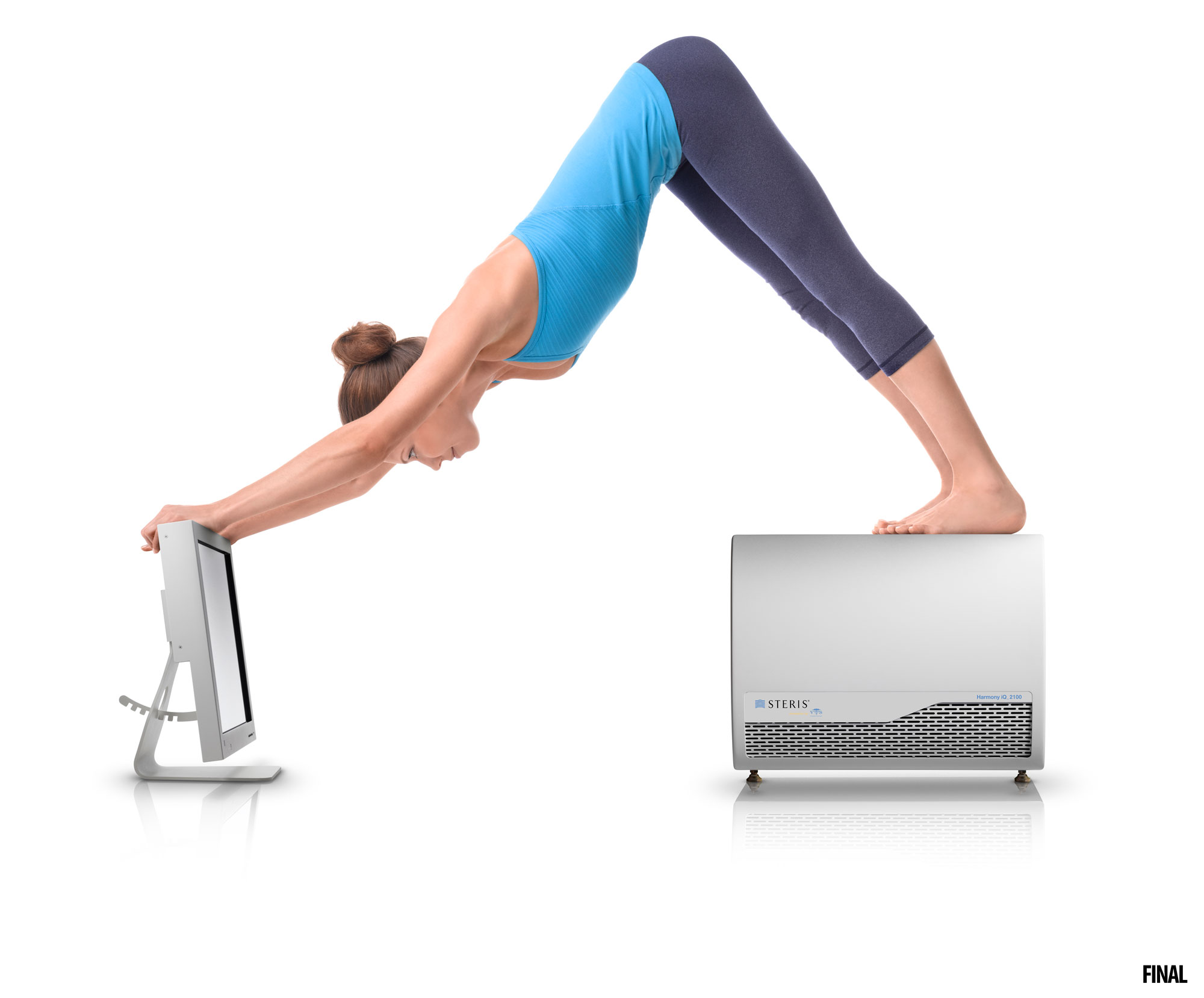 professional composite image of woman doing yoga on steris products