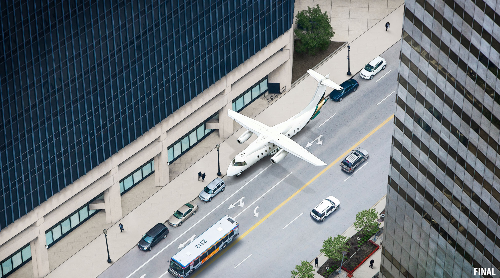 professional composite image of airplane parked on street as car