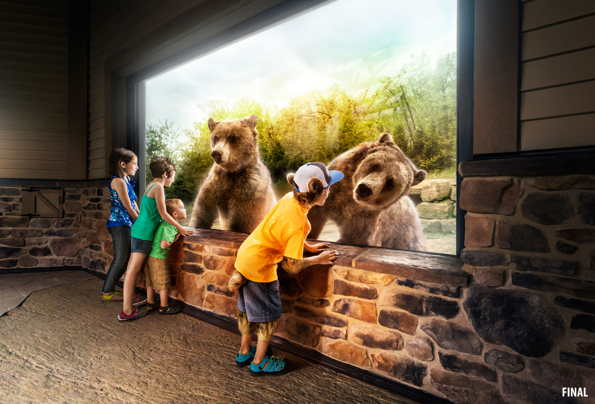 professional composite image of kids at the zoo looking at bears