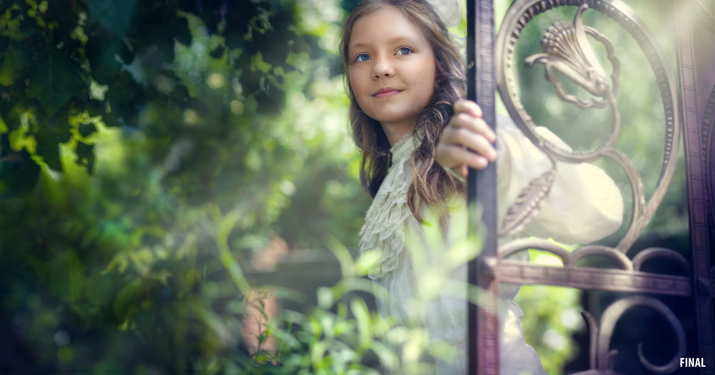 composite image of girl in woods with iron door