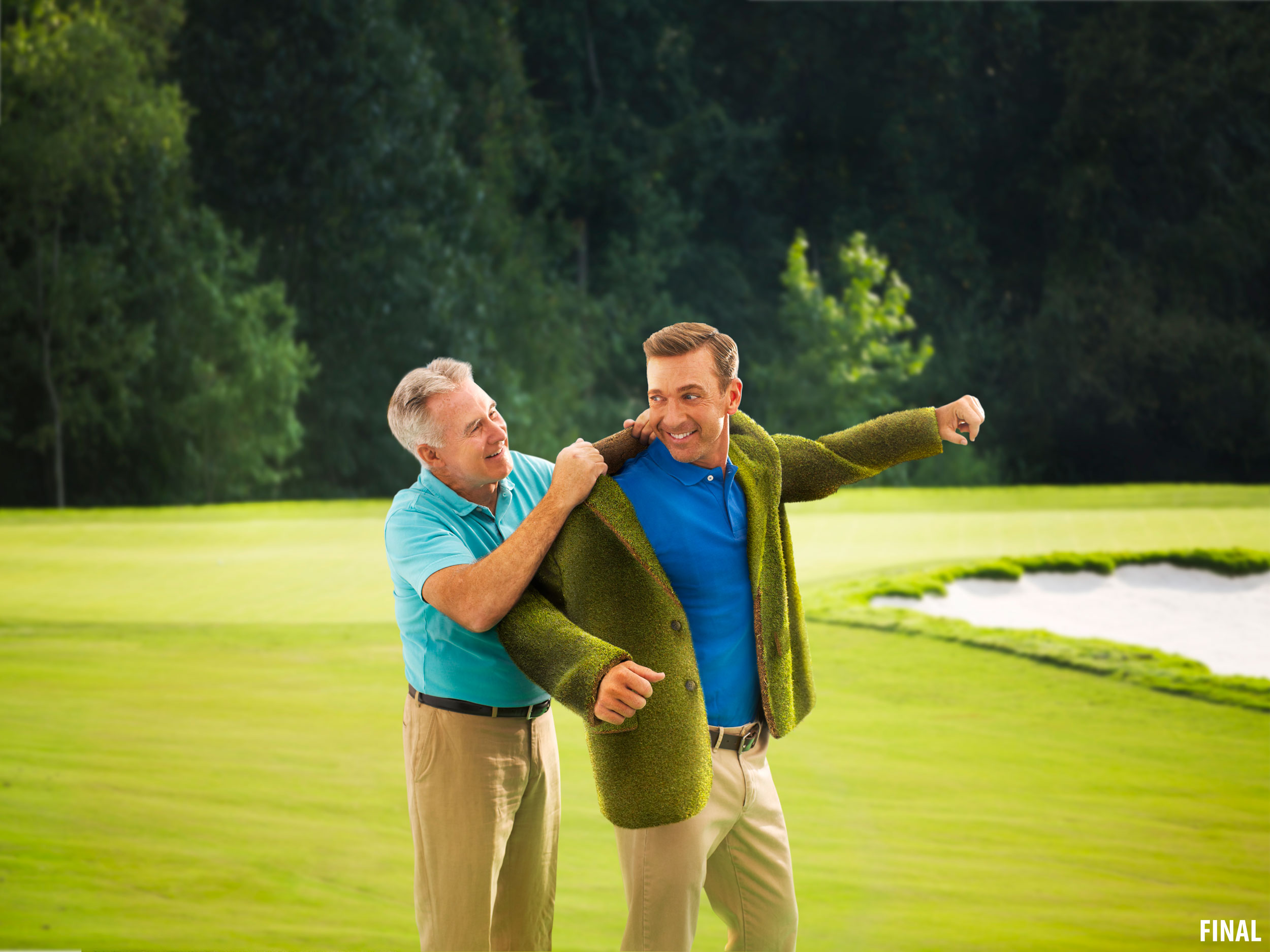 professional composite image of two men on golf course in grass coat