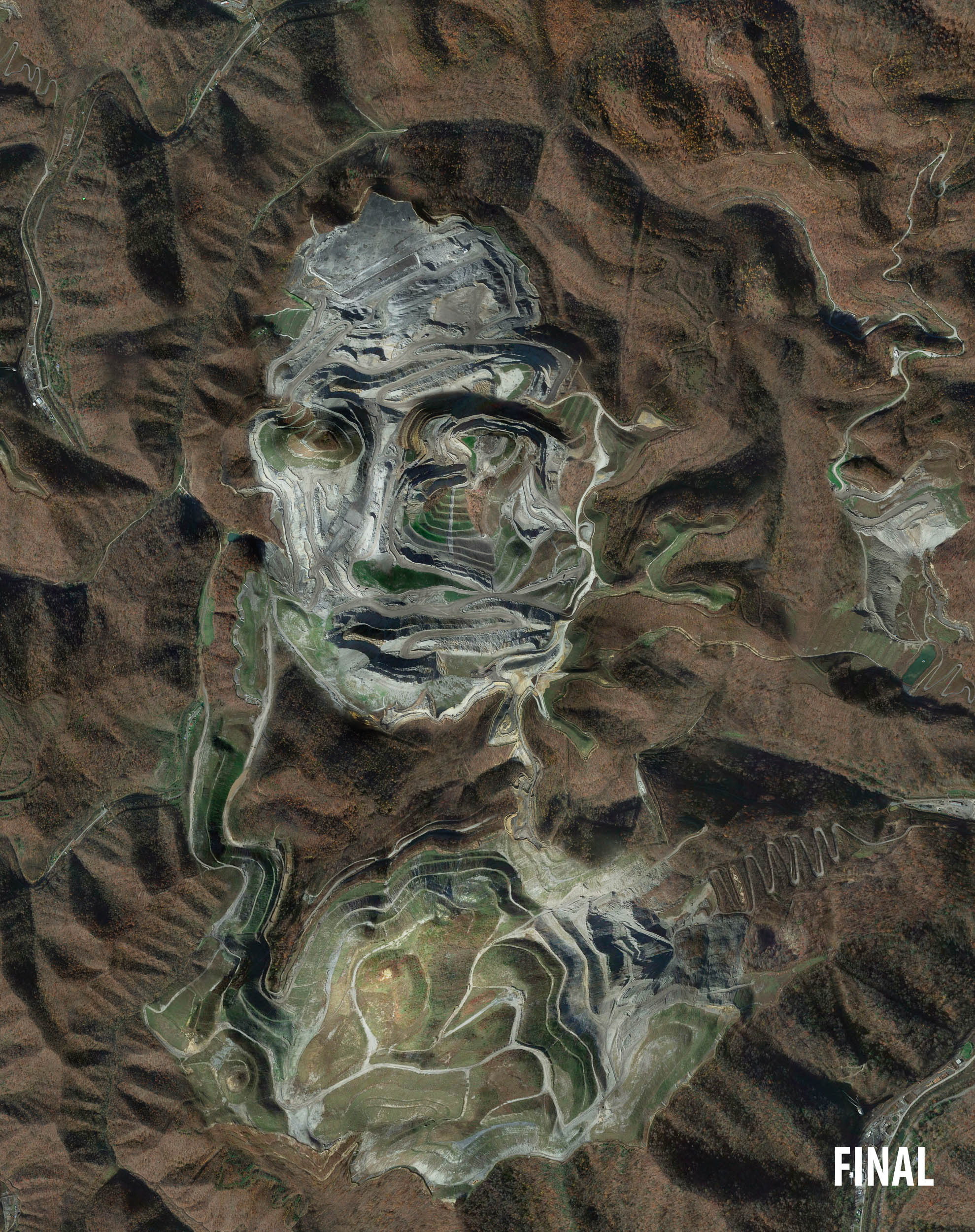 professional composite image of mona lisa from terrain photographs