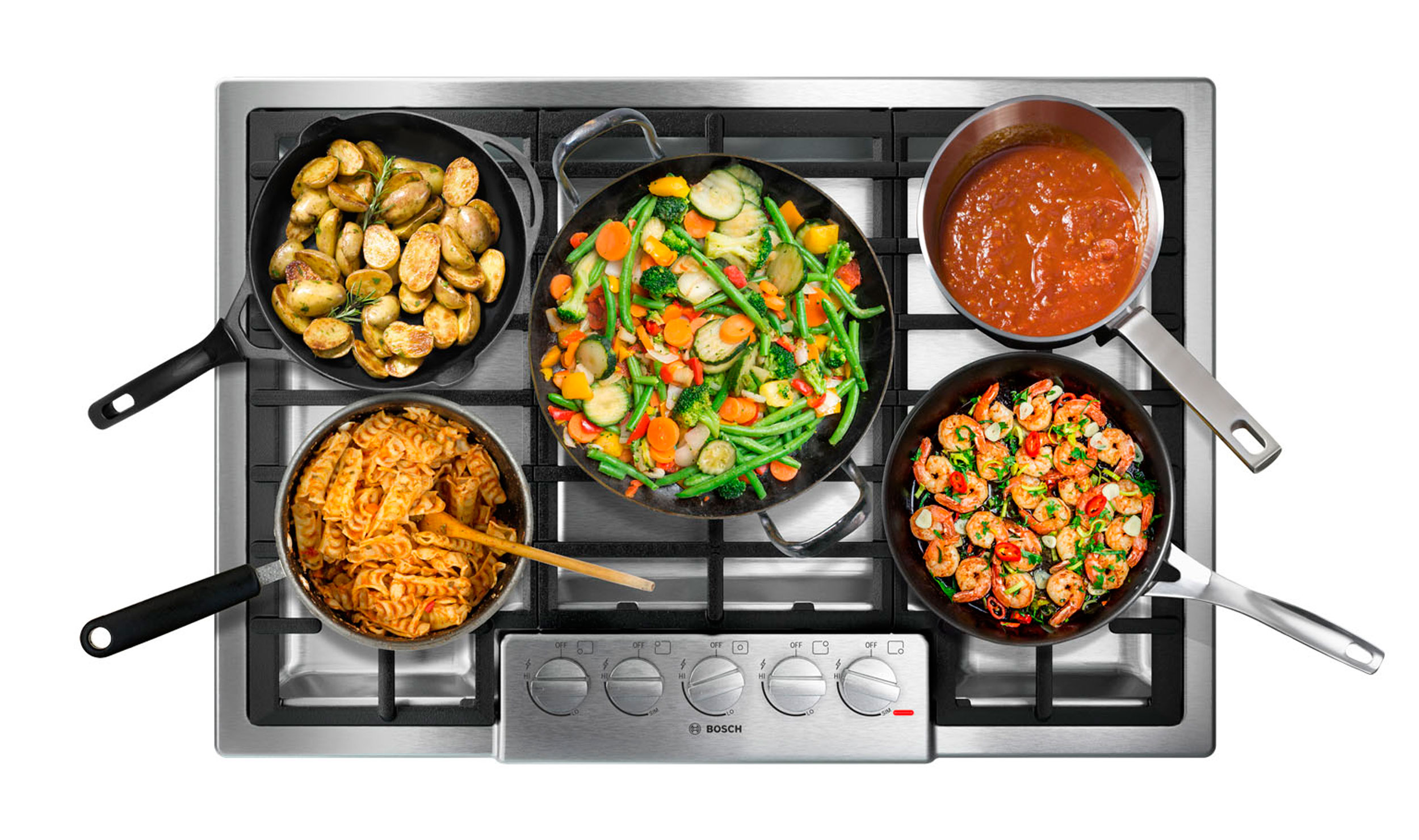 professional cgi photo of stove with pans of food