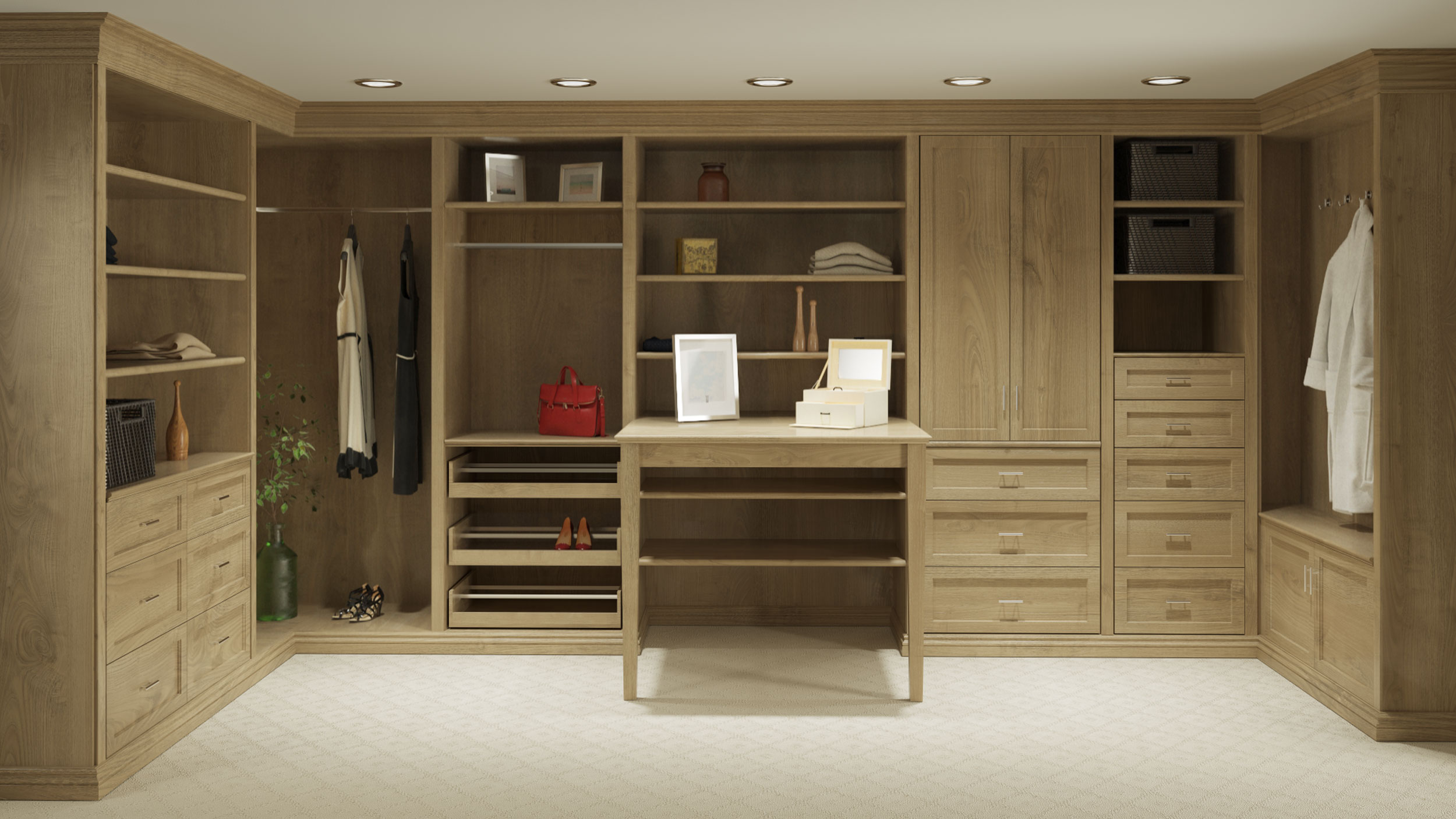 professional computer generated image of large closet