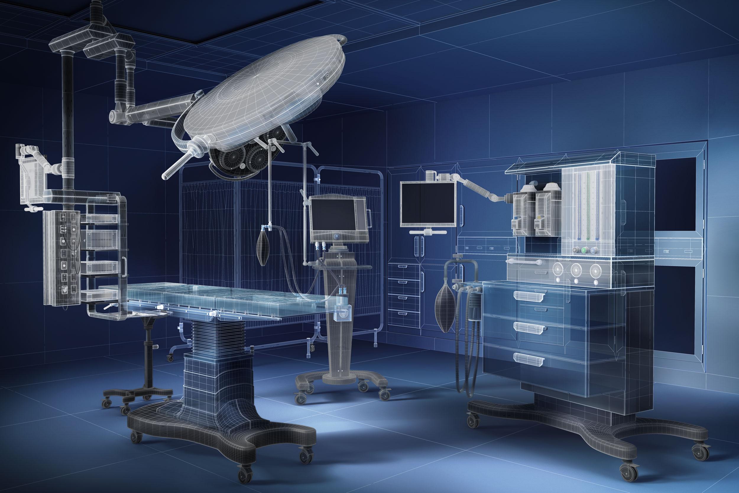 cgi blueprint imagery of operating room