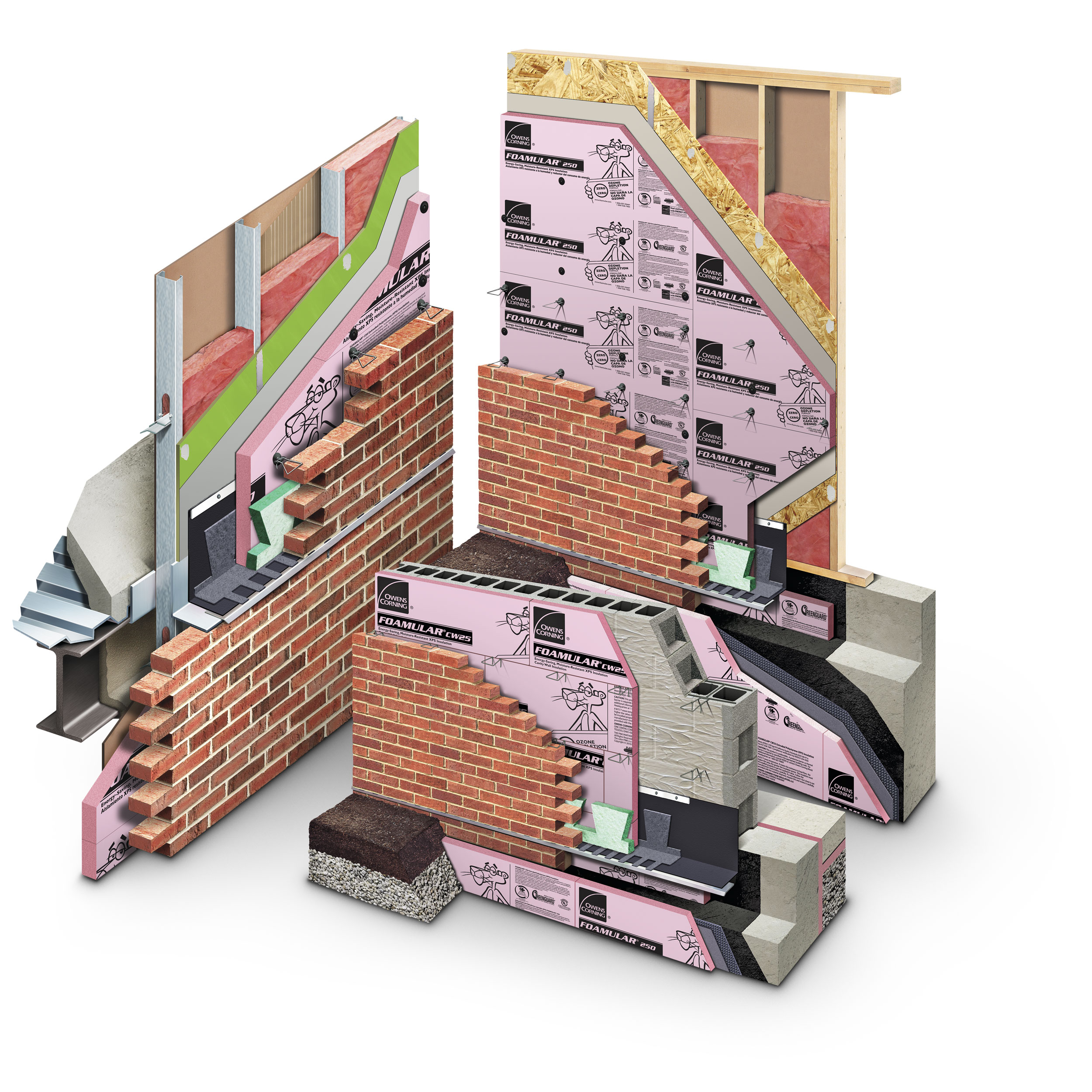 computer generated image of brick wall insulation
