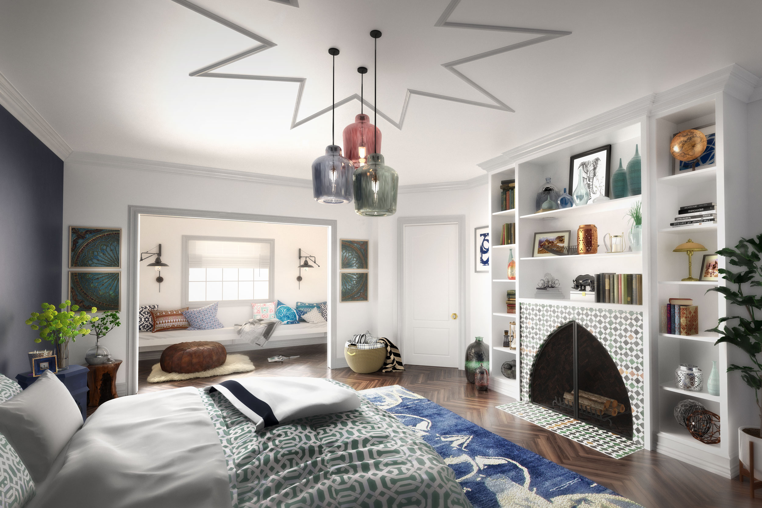 professional cgi photo of bedroom