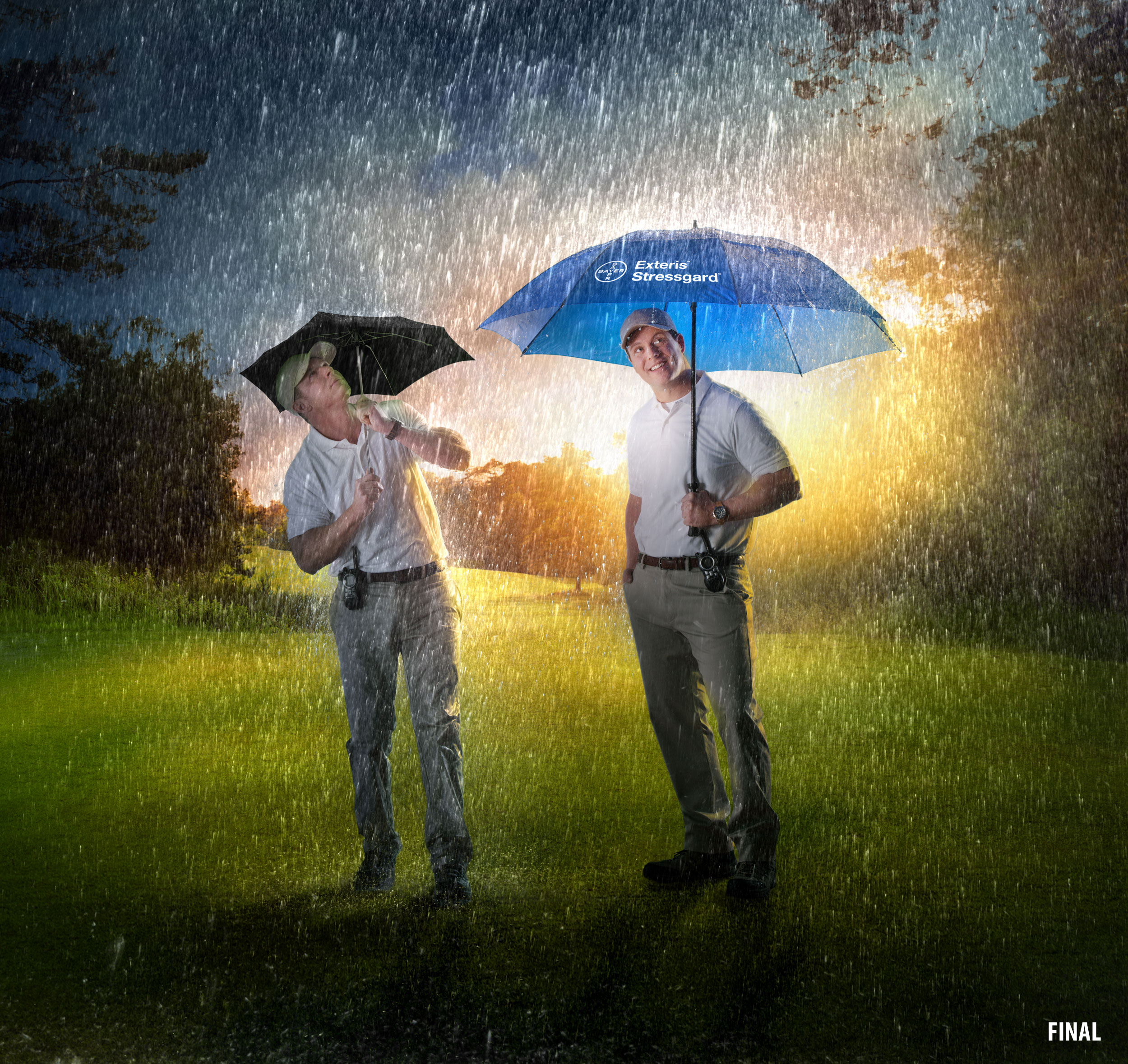 Composite Imagery photo of two men on golf course raining