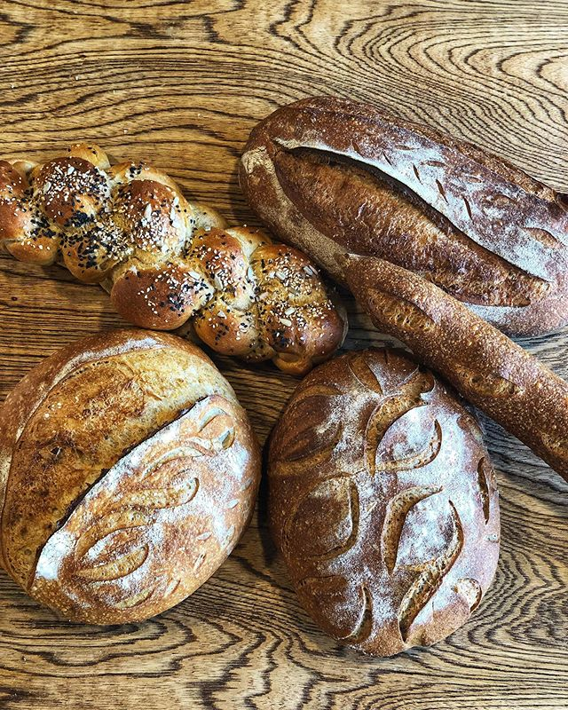 Often people come into the beer lab and ask me which bread is whole wheat or which bread is sourdough. Well they are all sourdough. We have whole grains about 20 to 30% in most of our breads and some like this beautiful Red fife loaf on the lower right are 100% whole grain. We are now sourcing our wheat from @tehachapigrainproject and milling the whole grain into flour in our stone mill and then hand mixing the flours into these beauties right here. Come try one out, they're delicious!!!!