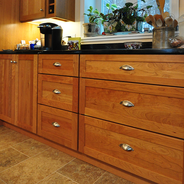 Recess flat panel drawer fronts, wide baking drawers, full overlay