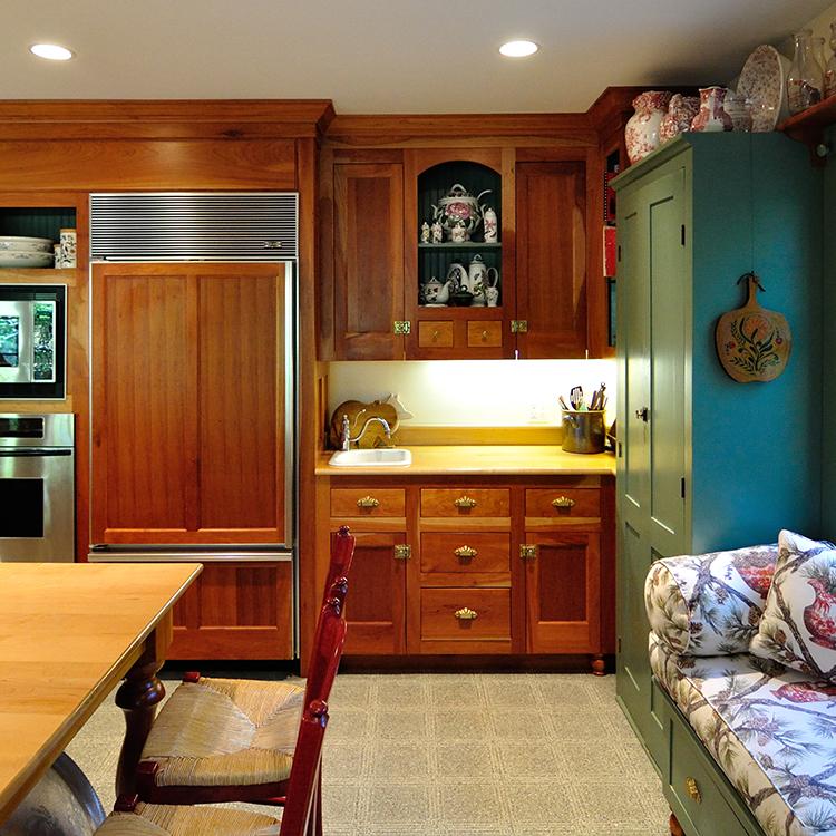 Hutch design, vegetable sink, paneled Sub-zero refrigerator