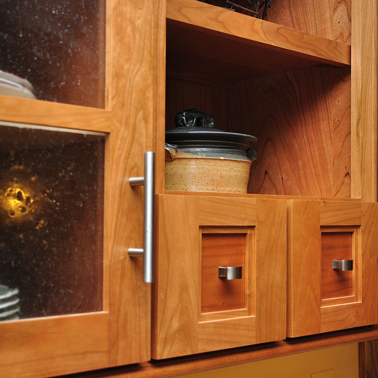 Apothecary Drawers, Open Shelving, Seeded Glass, Bar Pulls